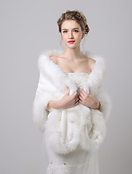 Faux Fur Imitation Cashmere Wedding Party Evening Women's Wrap With Pattern Shawls
