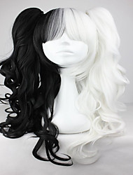 cheap -White Mix Black 70cm Classical Anime Wavy Braided Fashion Cosplay Lolita Full Wig