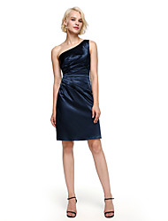 cheap -Sheath / Column One Shoulder Knee Length Stretch Satin Bridesmaid Dress with Side Draping by LAN TING BRIDE®