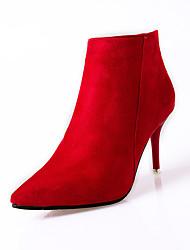 Women's Heels Comfort Combat Boots Cashmere Winter Casual Walking Comfort Combat Boots Zipper Stiletto Heel Black Ruby 3in-3 3/4in