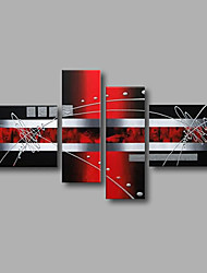 Stretched (Ready to hang) Hand-Painted Oil Painting 150cmx90cm Canvas Wall Art Modern Black Red