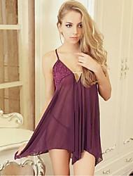 Lingerie en Dentelle Vêtement de nuit Femme,Sexy Couleur Pleine-Mince Polyester Rose Violet
