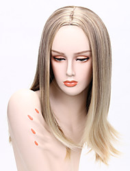 Fashion Style Medium Long Straight Light Black Blonde and Gold Mixed Color Synthetic Wigs for Women