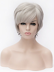 cheap -Europe and the United States latest Fashion silver white short Ombre straight  fiber wig