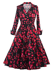 Women's Casual/Daily Vintage Sheath DressFloral V Neck Knee-length Long Sleeve Black Cotton / Polyester