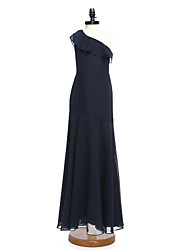 cheap -A-Line One Shoulder Floor Length Chiffon Junior Bridesmaid Dress with Ruffles by LAN TING BRIDE®
