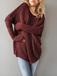 Недорогие -Жен. Длинный рукав Длинный Пуловер - Однотонный