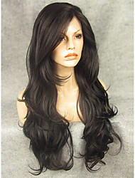 cheap -Synthetic Wig Wavy Black Lace Front Natural Wigs Synthetic Hair