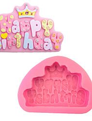 cheap -1Pcs 11Cm*8Cm*2Cm Happy Birthday Shaped Fondant Silicone Mold Liquid Silicone Decoration Tools Bakeware