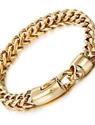 cheap -Men's Stainless Steel Gold Plated 18K Gold Luxury Chain Bracelet - Luxury Hip-Hop Fashion Geometric Golden Bracelet For Party Gift Daily