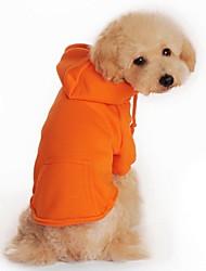 preiswerte -Katze Hund Kapuzenshirts Hundekleidung Lässig/Alltäglich Sport Solide Schwarz Orange Grau Rot Kostüm Für Haustiere