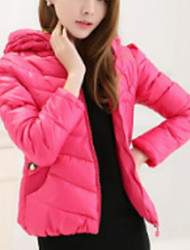 Women's Regular Padded Coat,Simple Casual/Daily Solid-Polyester Polypropylene Long Sleeve Hooded Pink / Black / Green