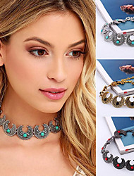 cheap -Women's Turquoise Choker Necklace / Tattoo Choker  -  Silver Plated, Gold Plated, Turquoise Tattoo Style, Vintage, Bohemian Black, Red, Blue 32cm Necklace For Party