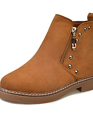Women's Boots Winter Comfort PU Dress / Casual Low Heel Zipper Black / Brown / Khaki Walking