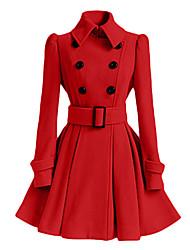 Cappotto Da donna Casual Primavera / Inverno Semplice / Moda città,Tinta unita Colletto PoliestereRosa / Rosso / Bianco / Nero / Grigio /