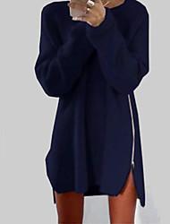 Feminino Bainha Vestido,Casual Simples Sólido Decote Redondo Acima do Joelho Manga Longa Azul / Rosa / Bege Algodão Todas as Estações