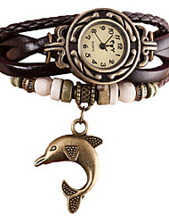 cheap -Women's Quartz Wrist Watch / Bracelet Watch Imitation Diamond / Punk PU Band Vintage / Casual / Bohemian / Fashion Black / White / Blue /