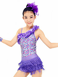 MiDee Dresses Performance Spandex / Paillettes / Sequins / Tassel(s) 4 Pieces Latin Dance Sleeveless HighDress / Bracelets