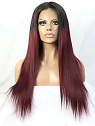 High Quality Virgin Brazilian Hair Two tone Ombre #1b/99J Glueless Lace Front Wig