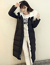 cheap -Women's Long Down Coat,Simple Casual/Daily Solid-Polyester White Duck Down Long Sleeve Black Gray