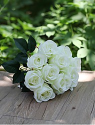 cheap -Set of 1 PCS 1 Branch Polyester Roses Tabletop Flower Artificial Flowers Long 15.7(inch)
