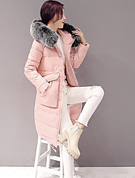 cheap -Women's Long Down Coat,Simple Casual/Daily Solid-Cotton White Duck Down Long Sleeve Pink / Black / Gray