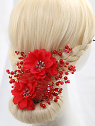 Crystal Imitation Pearl Satin Flowers Headpiece