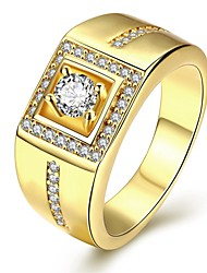 cheap -Men's Cubic Zirconia Silver Plated Gold Plated Ring - Geometric Personalized Luxury Love For Christmas Gifts Wedding Party Daily Valentine