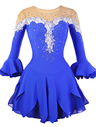 Figure Skating Dress Women's Girls' Ice Skating Dress Wearable Breathable Stretch Handmade Half Sleeves Performance Practise Skating Wear
