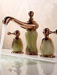 Moderne Antique Diffusion large Séparé Soupape céramique 3 trous Deux poignées trois trous Or rose , Robinet lavabo