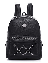 Women Bags All Seasons PU Backpack Rivet for Shopping Casual Black Gray Blushing Pink