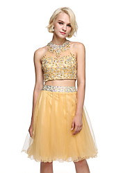 cheap -Ball Gown Jewel Neck Knee Length Lace Tulle Homecoming Prom Dress with Sequins by TS Couture®