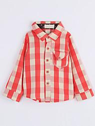 Menina Camisa Casual Houndstooth Outono Algodão Manga Longa Regular