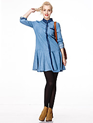 HEARTSOUL Women's Holiday Street chic Spring / Fall Shirt,Solid Shirt Collar Long Sleeve Blue Cotton Thin