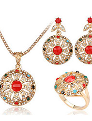 abordables -Femme Diamant synthétique / Rubis synthétique Or 18 Carats Ensemble de bijoux Anneaux / Boucles d'oreille / Colliers décoratif - Luxe /