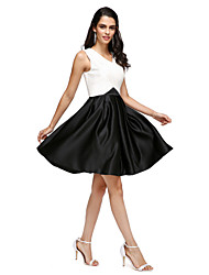 A-Line V-neck Knee Length Stretch Satin Cocktail Party Homecoming Prom Dress with Pockets Criss Cross by TS Couture®