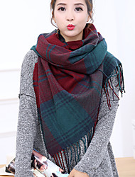 Women Autumn Winter Cashmere Vintage Work Casual Rectangle Red plaid printing cashmere long double - sided fringed shawl