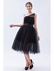 A-Line One Shoulder Tea Length Tulle Bridesmaid Dress with Sash / Ribbon by XFLS