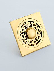 cheap -Square Shower Floor Drain with Tile Insert Grate Deep Style Gold Finish