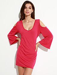 Damen Hülle Kleid-Lässig/Alltäglich Anspruchsvoll Solide V-Ausschnitt Mini / Übers Knie Langarm Rot / Schwarz Polyester Sommer