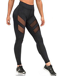 Women Solid Color Splicing Mesh Legging,Cotton Core Spun Yarn