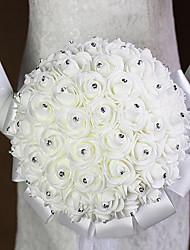 economico -Bouquet sposa Tondo Rose Bouquet Matrimonio Raso Schiuma Strass 20 cm ca.