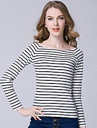 Women's Fine Stripe Casual/Daily Simple / Street chic Spring / Fall T-shirt,Striped Boat Neck Long Sleeve Blue / Red / White / Black Polyester Medium