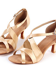 billige -Dansesko(Guld) -Kan tilpasses-Lave hæle-Damer-Latin