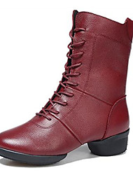 Women's Dance Shoes Leather Leather Modern / Dance Boots Boots / Split Sole Low Heel Outdoor Black / Red