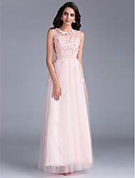 A-Line Illusion Neckline Floor Length Tulle Prom Formal Evening Holiday Family Gathering Dress with Beading Flower(s) by CHQY