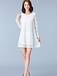 cheap -Women's Plus Size Sophisticated Loose Lace Dress - Solid Colored White Mini