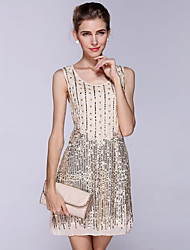Women's Formal/Party Sexy/Street chic Sheath Dress Embroidered U Neck Above Knee Sleeveless Polyester All Seasons