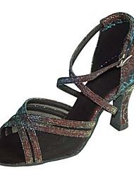 cheap -Women's Latin Salsa Sparkling Glitter Satin Sandal Heel Indoor Performance Professional Beginner Practice Sparkling Glitter Buckle