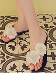 Women's Slippers & Flip-Flops Summer Slingback Rubber Casual Flat Heel Flower Black White